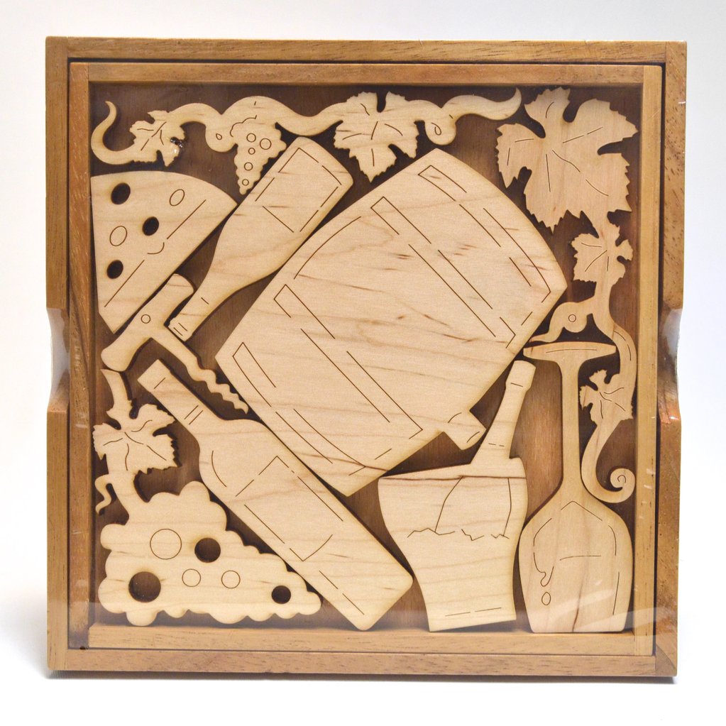 Wine Lover's Wood Puzzle by David Janelle - © Blue Pomegranate Gallery