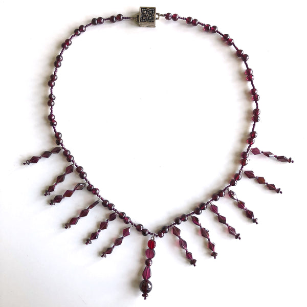 1 Strand Garnet Necklace with Dangles by Trudy Foster - © Blue Pomegranate Gallery