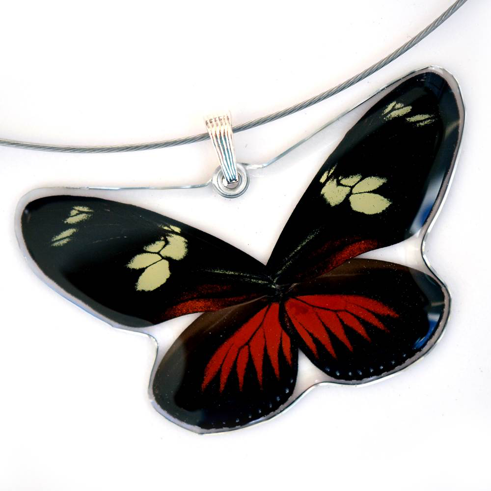 Doris Longwing Whole Butterfly Pendant by Simona Dedek - © Blue Pomegranate Gallery