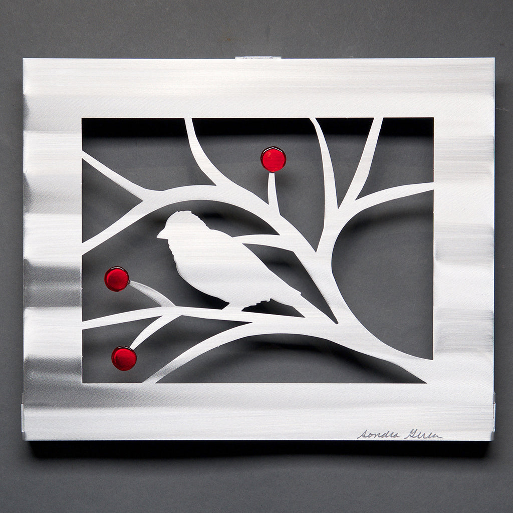 Bird Panel - Leaves or Berries, with Glass by Sondra Gerber - © Blue Pomegranate Gallery