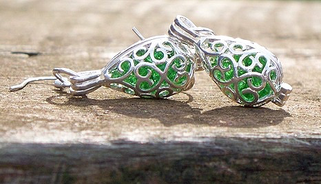 Emerald Silver Filigree Teardrop Earrings by Laura Bergman
