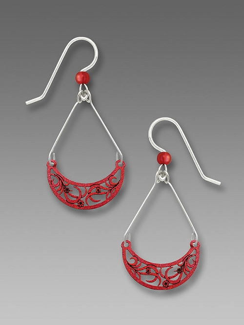 7637 Red Crescent Earrings by Barbara MacCambridge - © Blue Pomegranate Gallery