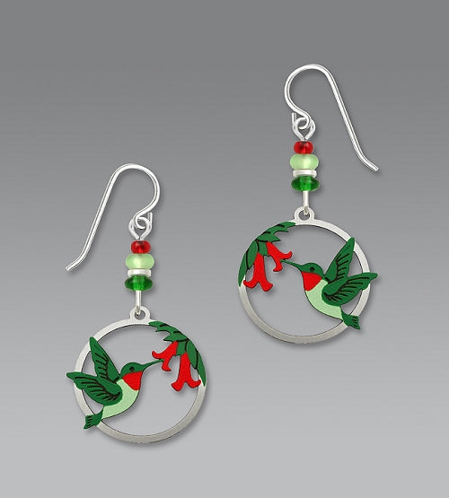 1673 Hummingbird  & Flowers in Circle Earrings by Barbara MacCambridge - © Blue Pomegranate Gallery