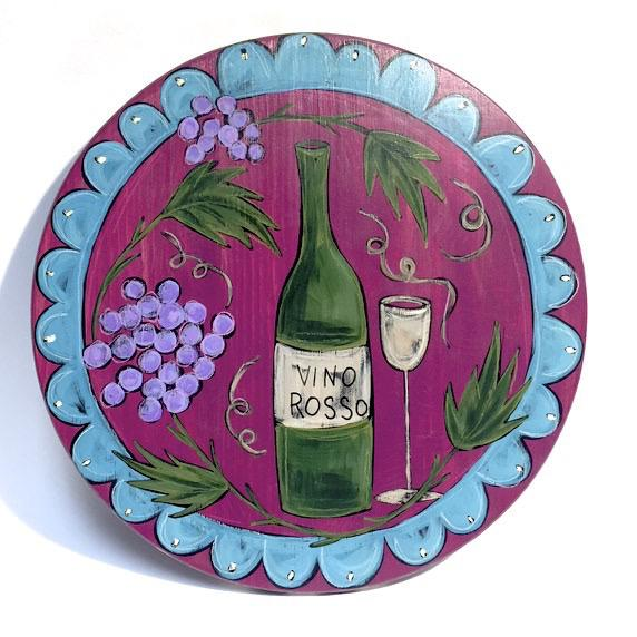 "Vino Rosso Lazy Susan by Elisa Drumm, 15"" - © Blue Pomegranate Gallery"