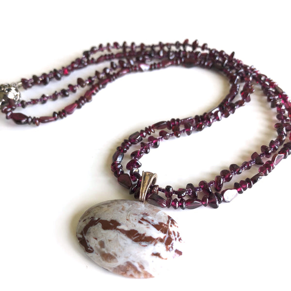 2 Strand Garnet Necklace with Jasper Pendant by Trudy Foster - © Blue Pomegranate Gallery