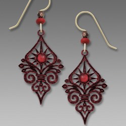 Red Deco Sunburst Earrings by Barbara MacCambridge - © Blue Pomegranate Gallery