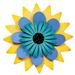 "18"" Blue and Aqua Flower on Yellow Kinetic Spinner by Carol Roeda"
