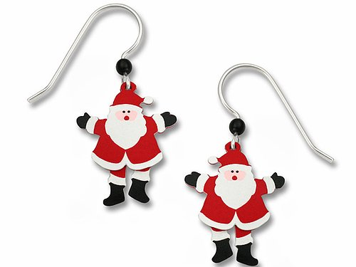 1292 Moving Santa Claus Earrings by Barbara MacCambridge - © Blue Pomegranate Gallery