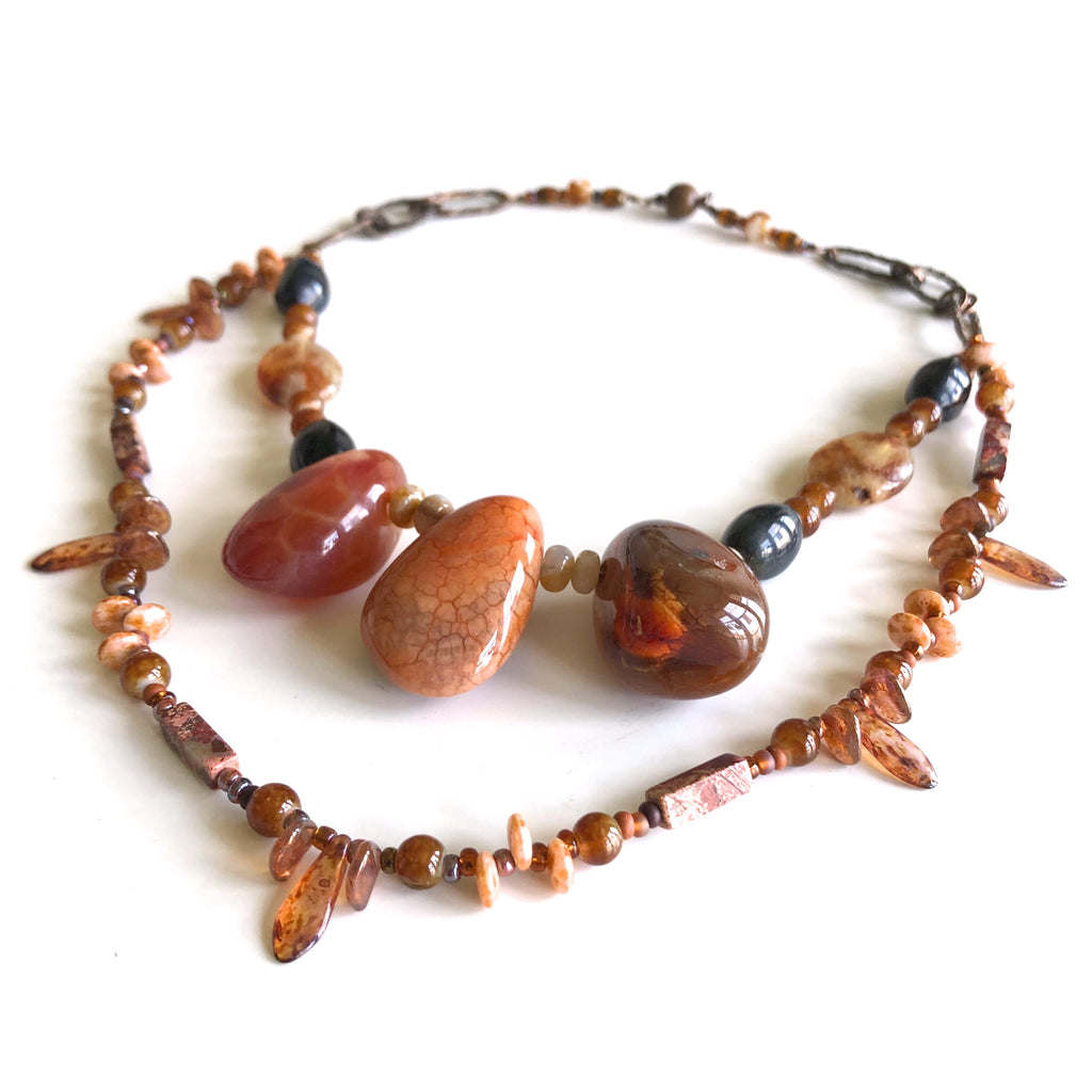 2 strand Agate & Fire Agate by Trudy Foster - © Blue Pomegranate Gallery