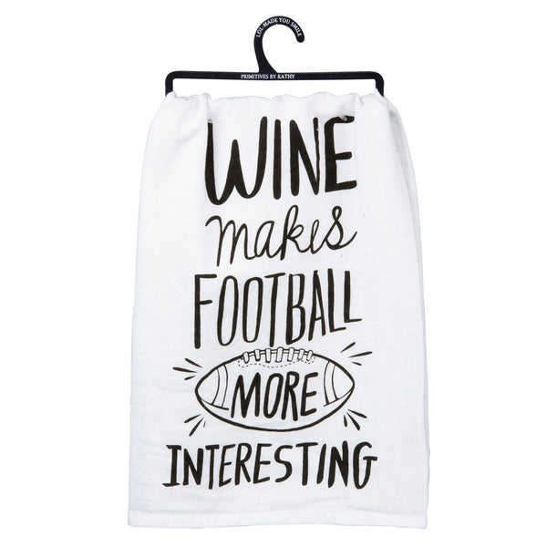 Wine Football - Dish Towel from Primitives by Kathy - © Blue Pomegranate Gallery