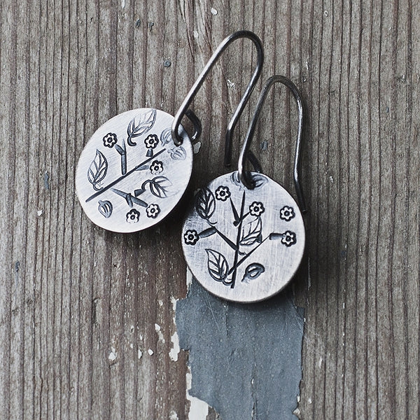 HMQ - Sweet Sprig- St. Silver Earrings by McQueen - © Blue Pomegranate Gallery