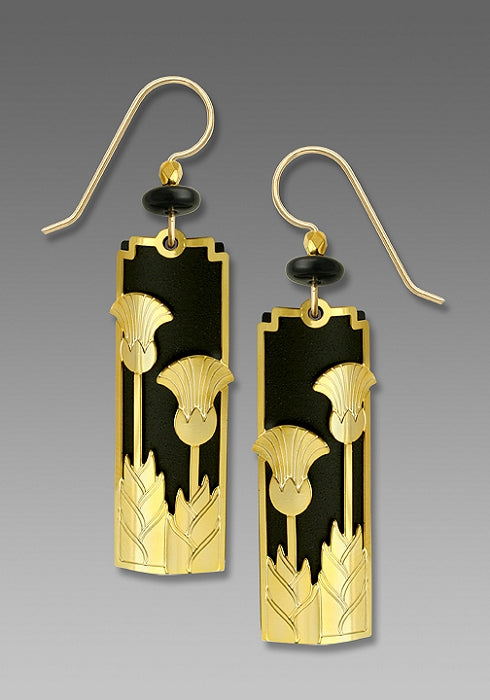 7515 Matte black Deco 'Upright Flowers'  Earrings by Barbara MacCambridge - © Blue Pomegranate Gallery