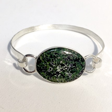 Green Turquoise Hammered Bracelet by Cassie Leaders