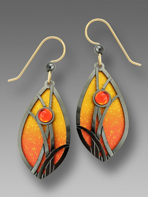 7570 Flame orange & gold almond shaped w/HM ' grasses' & cab Earrings by Barbara MacCambridge - © Blue Pomegranate Gallery
