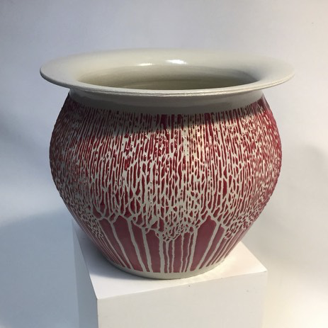 Red and Grey Pot with Trees by Tim Axtman, 5 1/2 x 7""