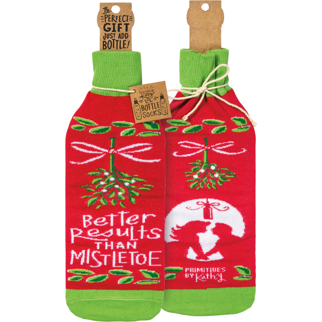 Better Than Mistletoe Bottle Sock from Primitives by Kathy - © Blue Pomegranate Gallery