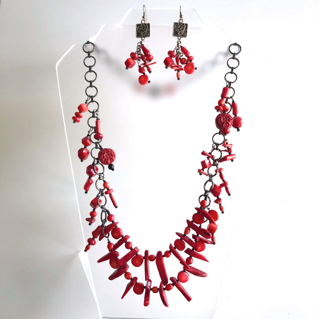 3pc set, Red Coral Bead on Graphite chain by Trudy Foster - © Blue Pomegranate Gallery