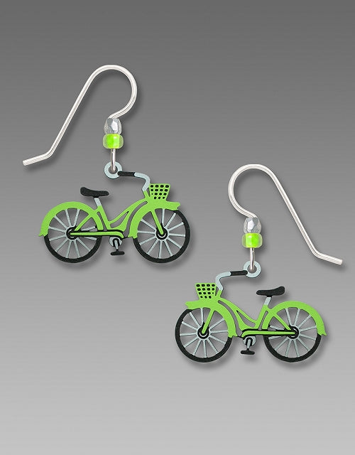 1923 Lime Green Bicycle Earrings by Barbara MacCambridge - © Blue Pomegranate Gallery
