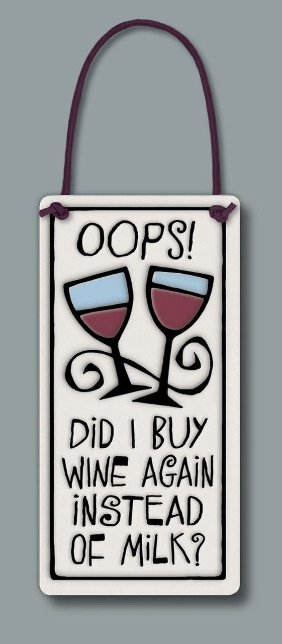 """Oops!"" Wine Tag by Michael Macone - © Blue Pomegranate Gallery"