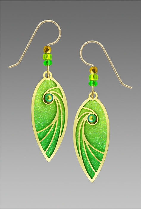 7746 Green & Gold shooting star leaf Earrings by Barbara MacCambridge - © Blue Pomegranate Gallery