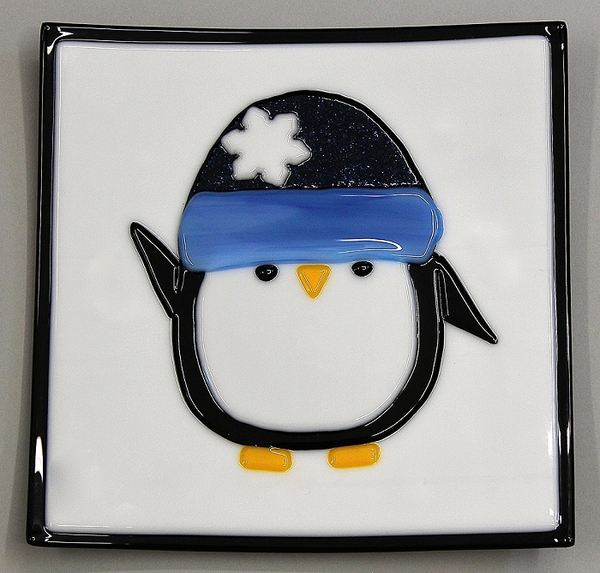 Penguin in Snow Hat Plate by Carol Doherty - © Blue Pomegranate Gallery