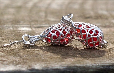 Ruby Beer Bottle Glass in Silver Filigree Teardrop Earrings by Laura Bergman - © Blue Pomegranate Gallery