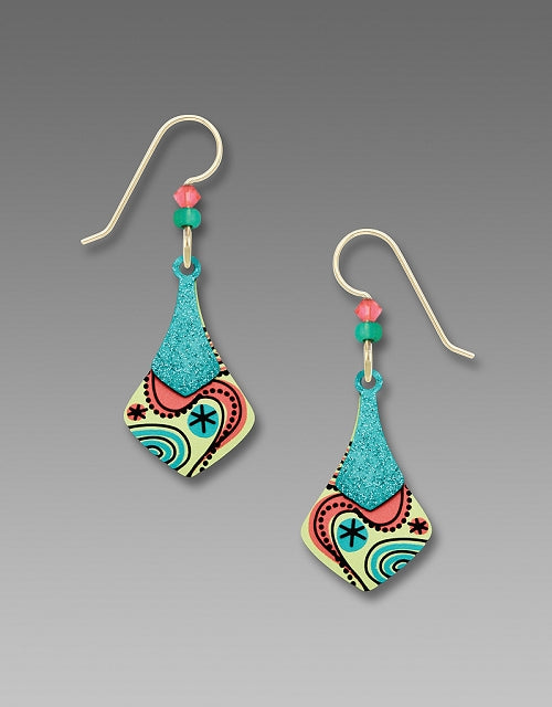 7810 Necktie retro swirl Coral Earrings by Barbara MacCambridge - © Blue Pomegranate Gallery