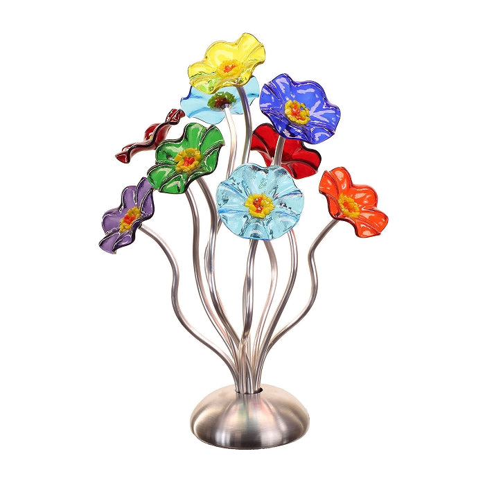 SJ1- Small 9 Glass Flower Bouquet Prism Silver Base by Jade Glass - © Blue Pomegranate Gallery