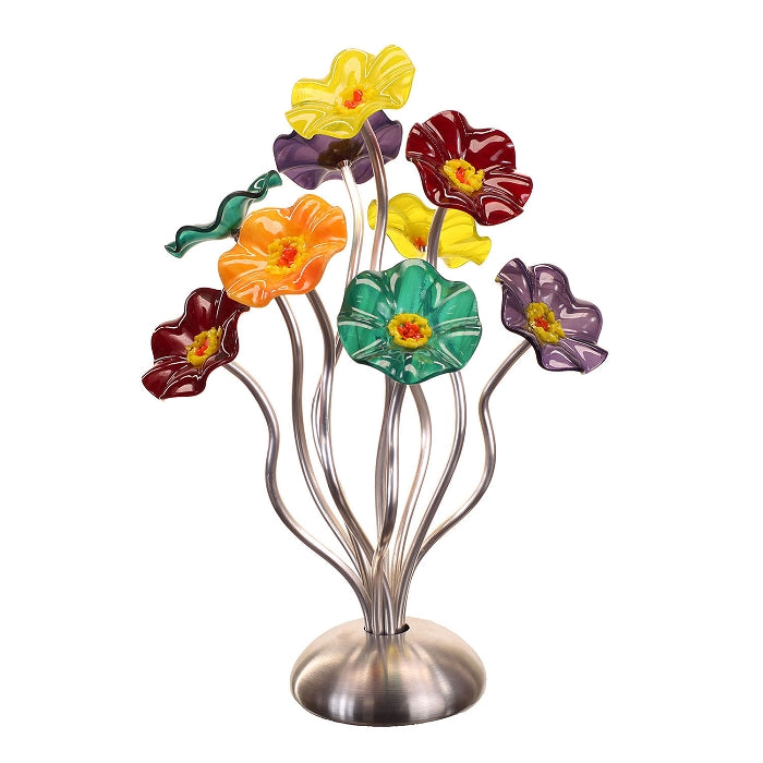 SJ1- Small 9 Glass Flower Bouquet Surprise Silver Base by Jade Glass - © Blue Pomegranate Gallery
