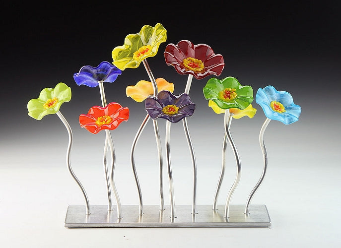 SJ1- Small Garden Rainbow Glass Flowers Silver Base by Jade Glass - © Blue Pomegranate Gallery
