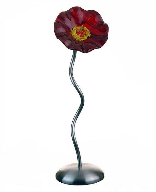 SJ1- Single RED Glass Flower Silver Base by Jade Glass - © Blue Pomegranate Gallery