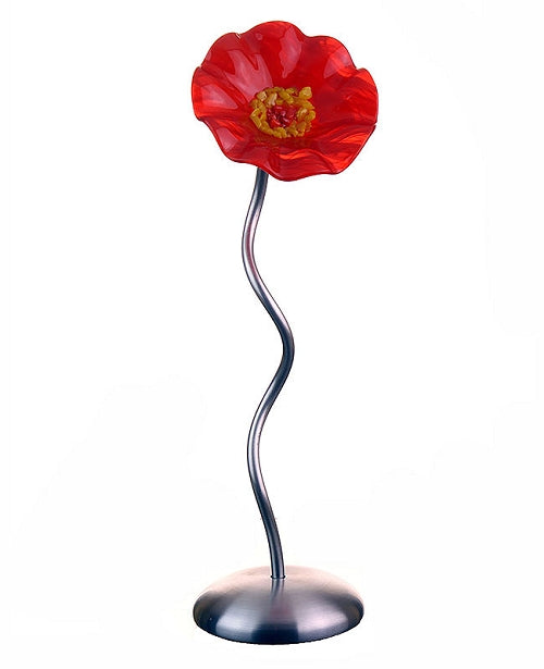 SJ1- Single ORANGE Glass Flower Silver Base by Jade Glass - © Blue Pomegranate Gallery