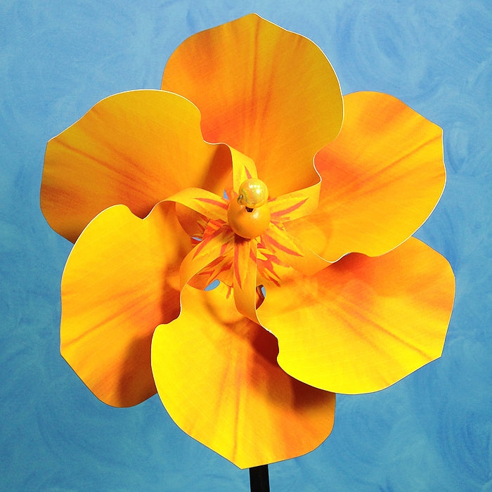 PA- California Poppy Pinwheel Spinner Whirligig - © Blue Pomegranate Gallery