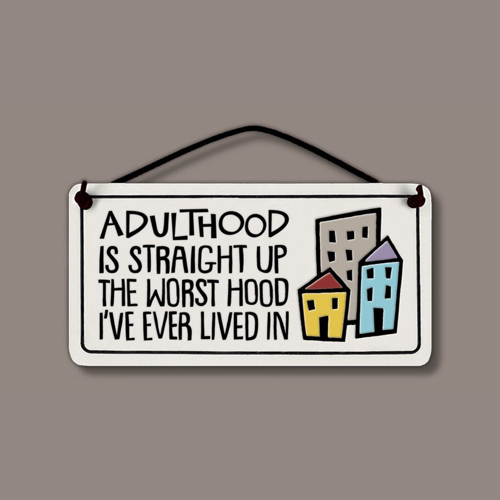 """Adulthood"" plaque by Michael Macone - © Blue Pomegranate Gallery"