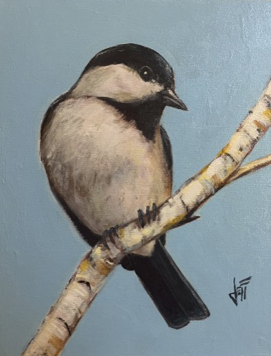 "Black-Capped Spy, by Jeff Boutin Acrylic  11 x 14"" - © Blue Pomegranate Gallery"
