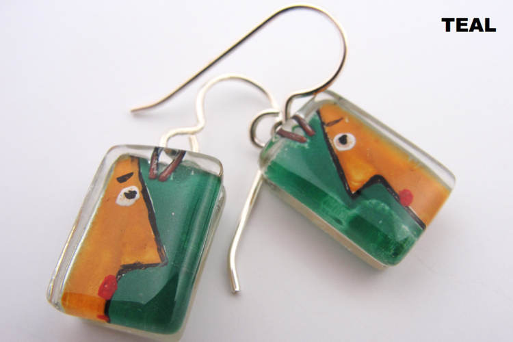 Mr. Muse Teal Earrings by Edo Mor - © Blue Pomegranate Gallery