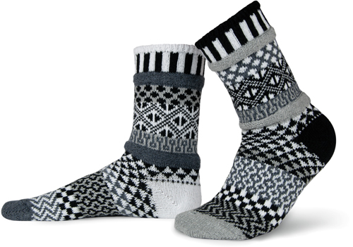 Midnight Adult Crew Socks made of recycled cotton by Marianne Makerlin - © Blue Pomegranate Gallery