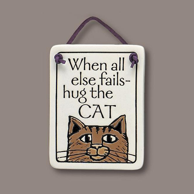 """Hug the cat"" plaque by Michael Macone - © Blue Pomegranate Gallery"