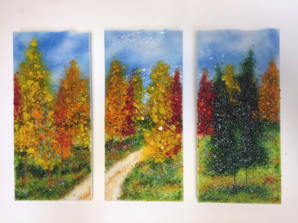 Autumn Journey Triptych by DeMoss 12x6ea - © Blue Pomegranate Gallery