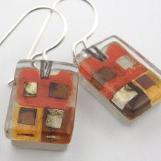 Santa Fe Squares Drop Earrings by Mor - © Blue Pomegranate Gallery