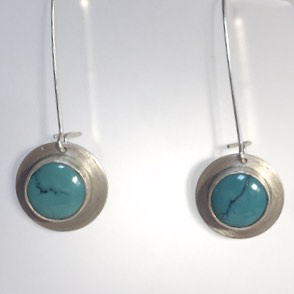 Turquoise Bezel Set Earrings by Cassie Leaders - © Blue Pomegranate Gallery