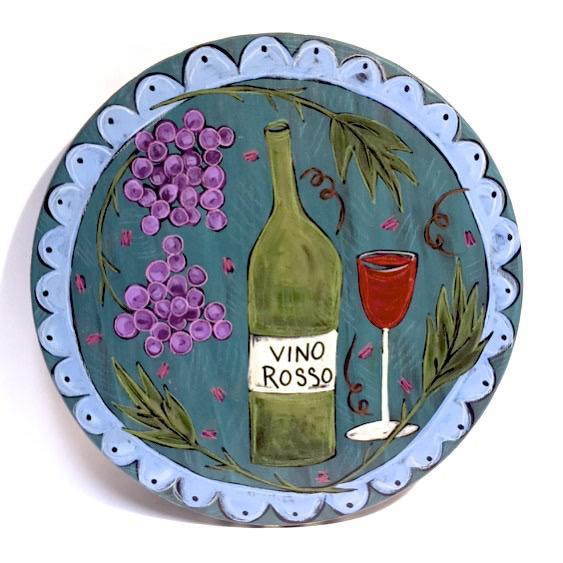 "Vino Rosso 2 Lazy Susan by Elisa Drumm, 15"" - © Blue Pomegranate Gallery"