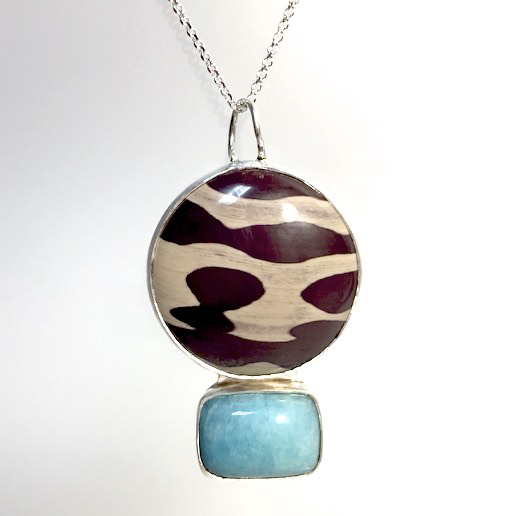 Zebra Stone & Apatite Necklace by Cassie Leaders - © Blue Pomegranate Gallery
