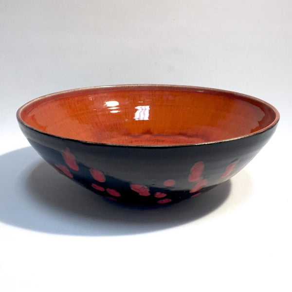 LG Food Safe Black Bowl with Red Drips by Tim Axtman