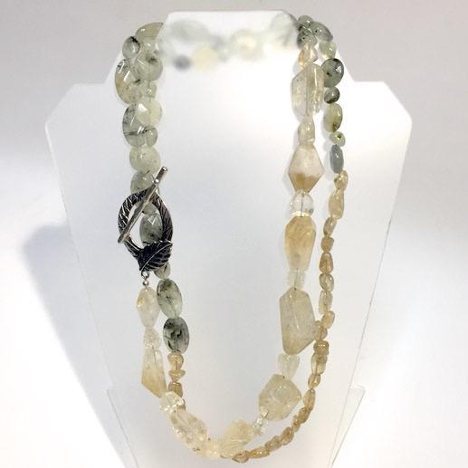 Extra Long Prehenite, Yellow Quartz & Citrine Necklace by Trudy Foster