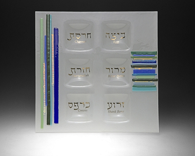 Duo Linear Blue/Green Square Seder - © Blue Pomegranate Gallery