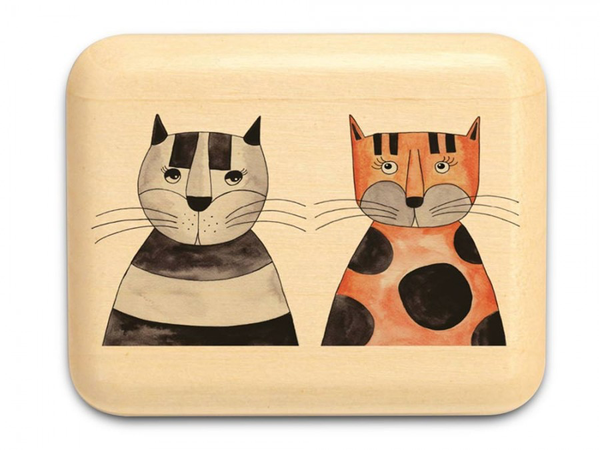 "Two Cats Box 1 x 1 1/2 x 2"" by Michael Fisher - © Blue Pomegranate Gallery"