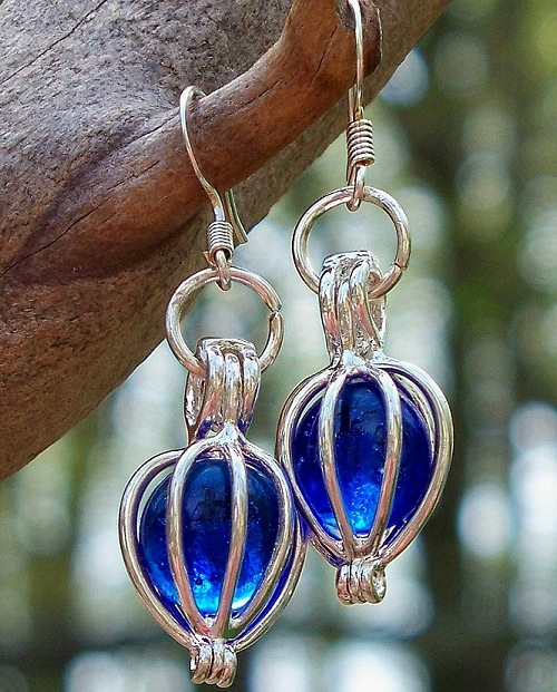 Cobalt Silver Drop Earrings by Laura Bergman - © Blue Pomegranate Gallery