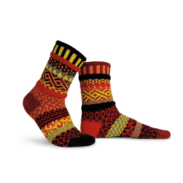 Fire Adult Crew Socks made of recycled cotton by Marianne Makerlin - © Blue Pomegranate Gallery