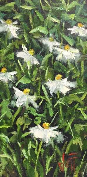 "Daisy Chain, by Jeff Boutin OIl  10 x 20"" - © Blue Pomegranate Gallery"